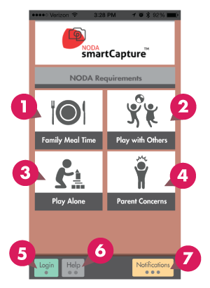 NODA smartCapture™ Home Screen annotated.